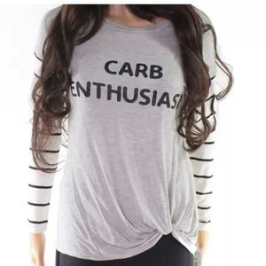 New long sleeved small Carb Enthusiast shirt top